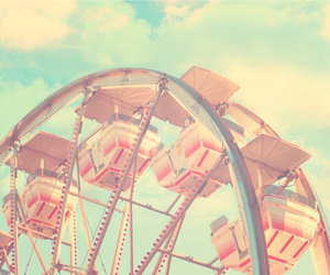 vintage, pink, and ferris wheel image