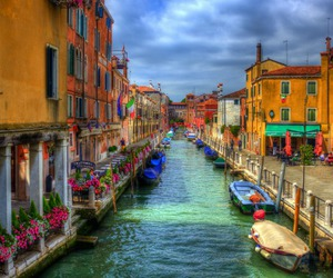 boats, italy, and buildings image
