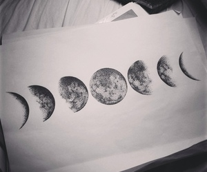 moon, drawing, and black and white image