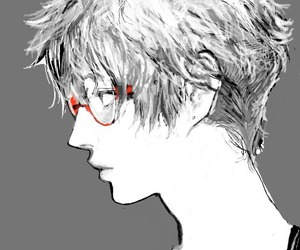 anime, guy, and black and white image