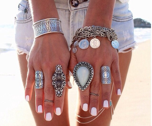girl, rings, and bracelet image