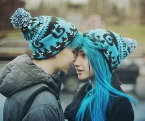 couple, love, and blue image
