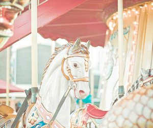 carousel, horse, and pastel image