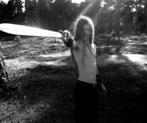 sword, b&w, and long hair image