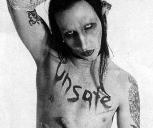 black and white and Marilyn Manson image