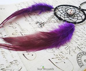 Halloween, skull, and purple feathers image