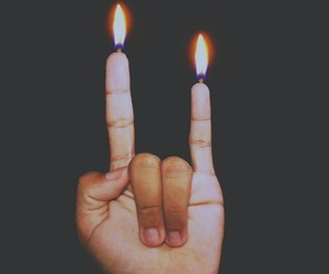 fire, grunge, and hand image