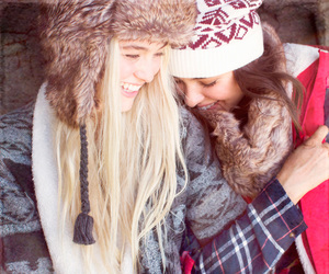 best friends, blonde, and brunette image