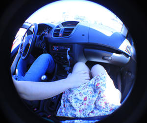 car, dress, and fisheye image
