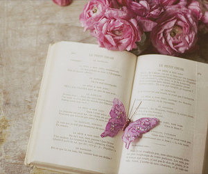 book, butterfly, and pink image