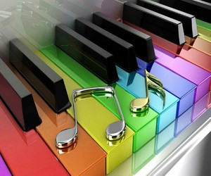 music, piano, and colors image