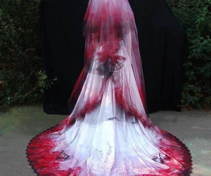 dress, blood, and bride image