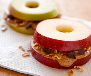 apple, food, and peanut butter image