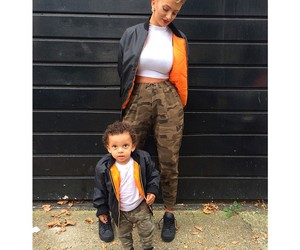 outfit, baby, and mom image