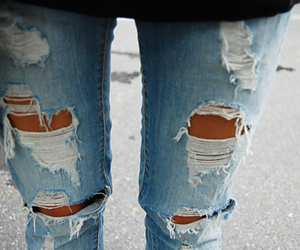 jeans, fashion, and rip image