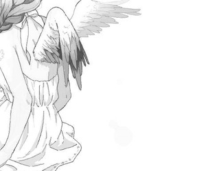 angel, black and white, and drawing image