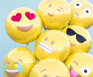 balloons, emoji, and yellow image