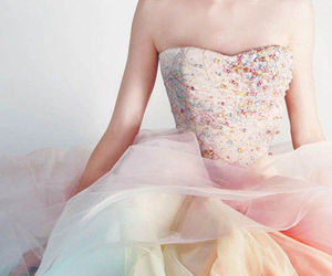 dress, rainbow, and pastel image