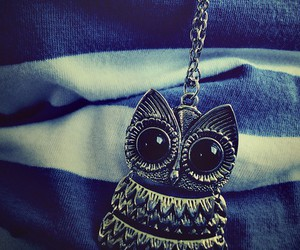 owl, necklace, and blue image