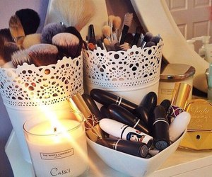 makeup, Brushes, and lipstick image