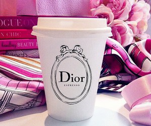 dior, pink, and coffee image
