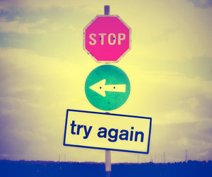stop, try again, and try image