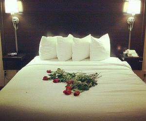 rose, bed, and romantic image