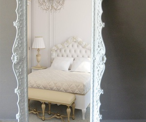 mirror, white, and bed image