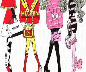 barbie, fashion sketch, and Moschino image