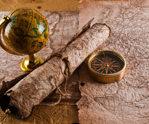 map, compass, and globe image