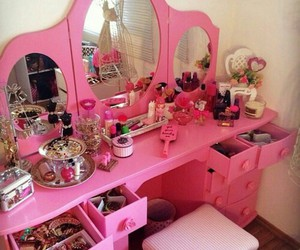 pink, makeup, and girly image
