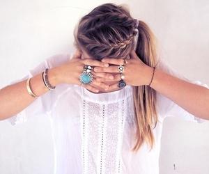 blonde, braid, and rings image