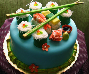 cake, sushi, and food image