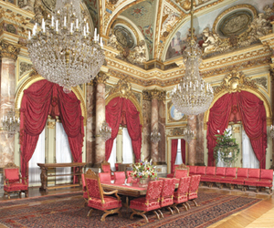 chandeliers, dining room, and gold image