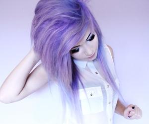 hair, OMG, and purple image