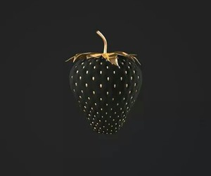 gold, black, and strawberry image