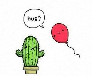 hug, cactus, and balloons image