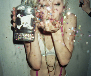 drunk, girl, and glitter image