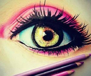 eye, drawing, and pink image