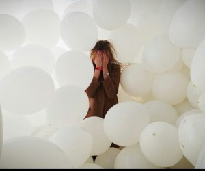 white, balloons, and girl image