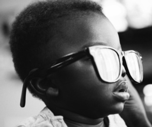 baby, black and white, and glasses image