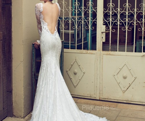dress, bride, and wedding image