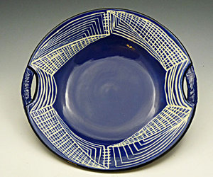 handmade, navy and white, and ceramic dish image