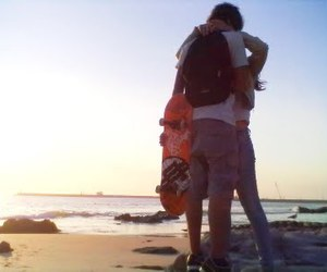 beach, couple, and skate image