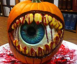 Halloween, pumpkin, and eye image
