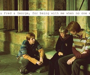 potter, fred weasley, and george weasley image