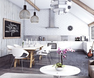 kitchen, white, and living room image