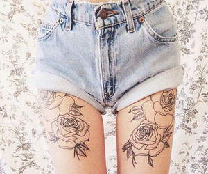 tattoo, rose, and flowers image