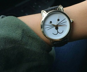 cat, clock, and fashion image