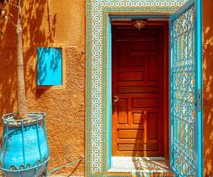 door, morocco, and blue image
